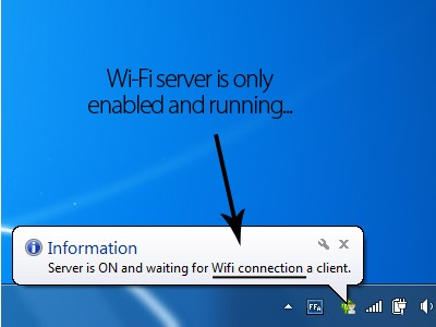 Wi-Fi server is running